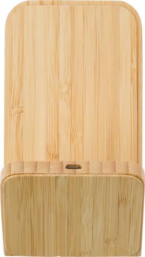 Trådlös laddare i bambu.