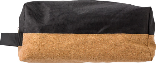 Polyester and cork toilet bag
