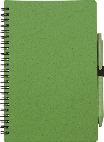 Wheat straw notebook with pen