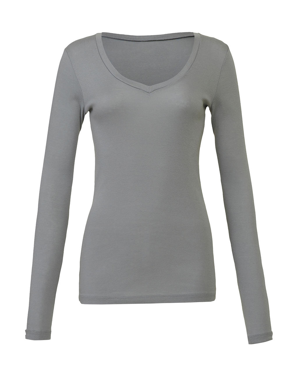 Sheer Mini Rib LS V-Neck T-Shirt