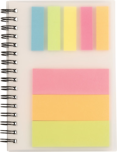 Wire bound notebook with sticky notes