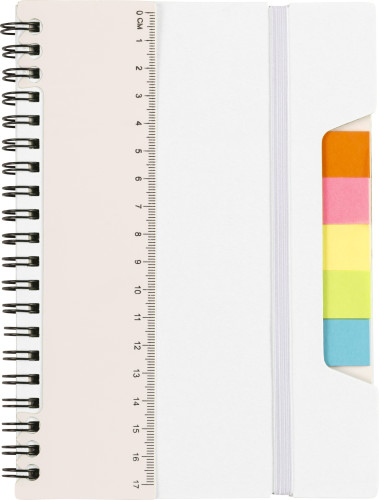 Wire bound notebook with ruler and sticky notes