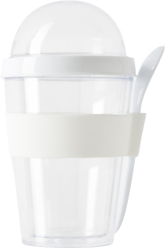 Plastic breakfast mug with separate compartment.