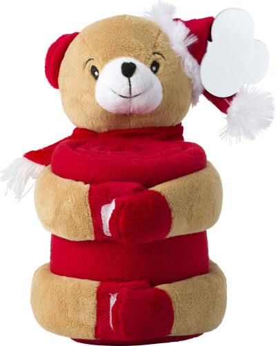 Christmas stuffed animal with blanket