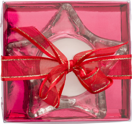 Star-shaped glass candle holder, including candle