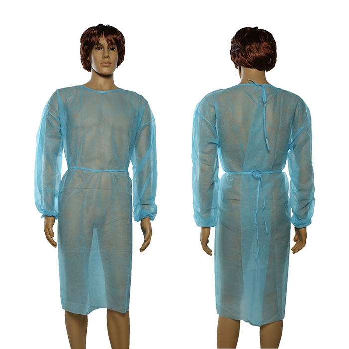Nonsterile blue isolation gown