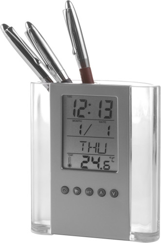 ABS pen holder with clock