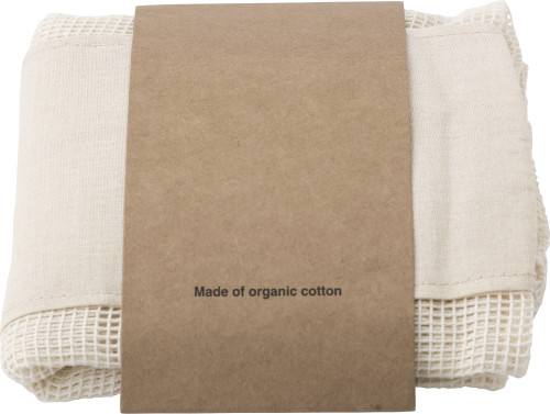 Set of three reusasable cotton mesh produce bags