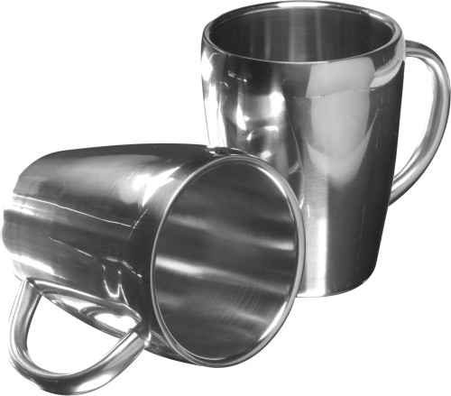 Set of two steel mugs