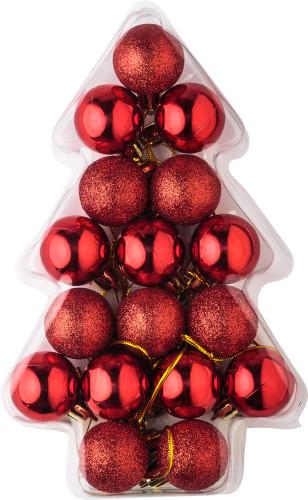 Set med 17 små julgranskulor i i plast