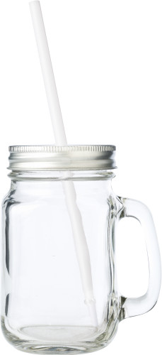 Glass mason drinking jar with handle (480ml)