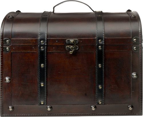 Large wooden chest.