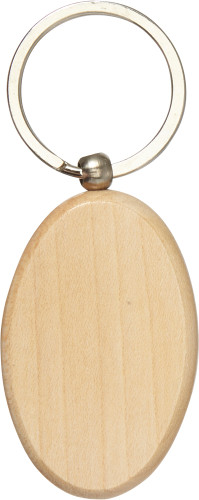 Oval wooden key holder with metal ring