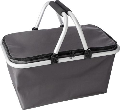 Polyester (320-330gr) foldable shopping basket.