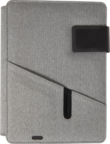 Polyester document folder (A5) with integrated 4000mAh power bank.
