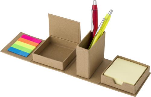 Cardboard cube desk organizer.