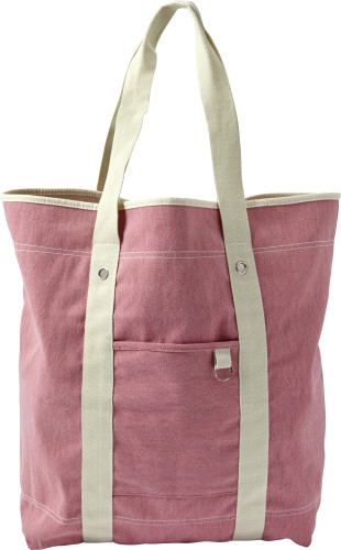 Twill cotton two-tone beach bag