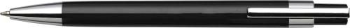 Plastic ballpen with black ink.