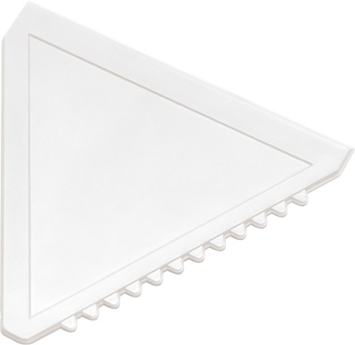 Triangular plastic ice scraper